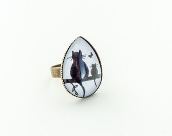 Cat Ring Cat Jewelry Unique Rings For Her Chunky Ring Animal Ring Cat Lover Gift Teardrop Ring Pet Lover Gifts Boho Rings for Women