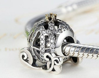 Cinderella's PUMPKIN COACH Charm / New / Silver / Stamped s925 Only