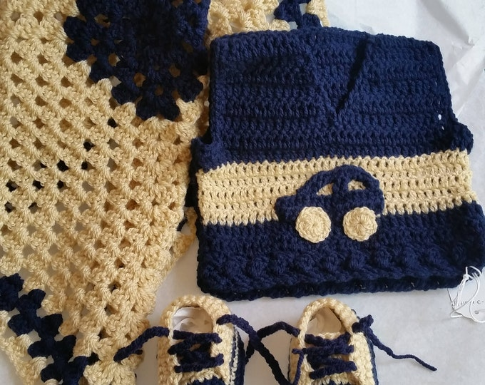 Navy Blue Car Vest Baby Clothing Set | Crochet Vest | Crochet Baby Blanket | Crochet Afghan | Baby Trainers | Baby Sneakers | Car | 0 to 6 m