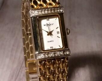 Vintage Quartz Women's Watch. Retro Chic Watch. Quartz Watch for Women. N.Moore Watch. Womens Wrist Watch. Diamond Watch. Quartz Watch