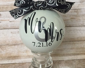 Anniversary Ornament, Marriage Ornament, Wedding Ornament, Wedding Gift, First Christmas Ornament, Bride and Groom Ornament