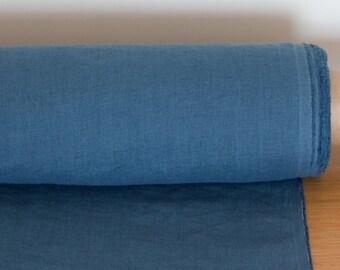 LINEN FABRIC medium weight Blue Denim Pure 100% washed linen fabric by meters Linen fabric by the yards