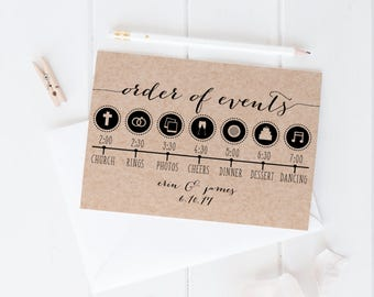 order of events wedding day timeline template print custom printable wedding schedule card printable