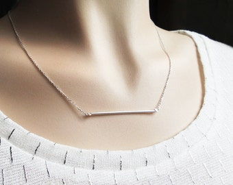 Horizontal bar necklace with horizontal stem fine necklace chain sterling silver necklace modern necklace minimalist delicate necklace