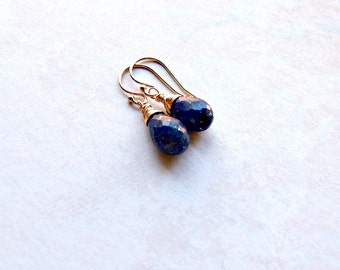 Lapis Lazuli Earrings 14k Gold Filled Earrings Wire Wrapped Gemstones Blue AAA Gemstones Gifts for Her