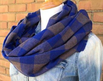 Blue & Grey Buffalo Plaid Flannel Infinity Scarf