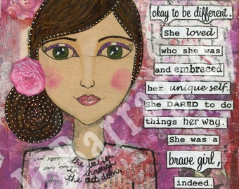 Whimsical, Spiritual GIft, Inspirational Quote, Mixed Media collage, Yoga decor, Mantra art, New Age Gift, Jackie Barragan, Courage & Art