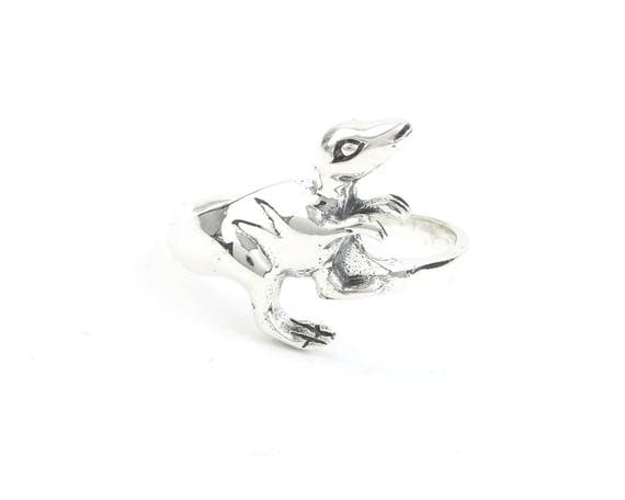 Sterling Silver T-rex Ring, Dinosaur Ring, Archeology, Prehistoric, Festival Jewelry, Animal Jewelry
