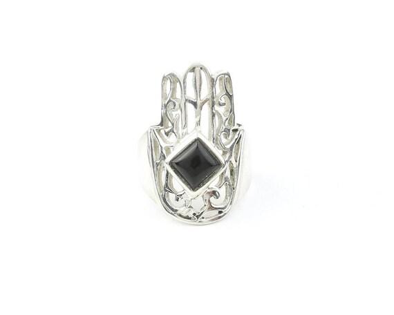 Black Onyx Hamsa Ring, Sterling Silver Black Onyx Ring, Stone Jewelry, Gemstone, Boho, Gypsy, Wiccan, Hippie, Spiritual, Luna, Cosmic