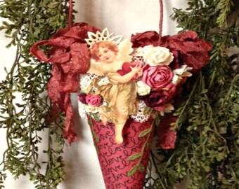 Valentine Victorian Cone, Valentine Tussie Mussie, Shabby Chic Cone