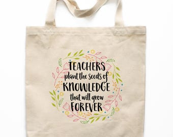 Teacher Gift, Teacher Tote Bag, Canvas Tote Bag, Printed Tote Bag, Market Bag, Shopping Bag, Reusable Grocery Bag 0143