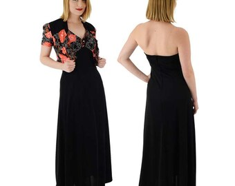 70s Black Floral Maxi Dress-Halter Style-Cropped Bolero Jacket-S-Small-1930s Look-Ossie Clark Inspired-1970s Bohemian Chic Dress
