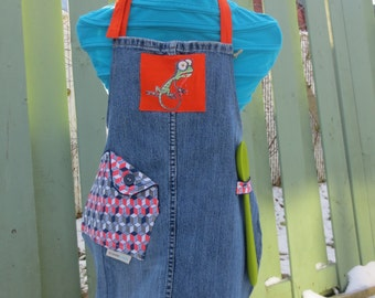 Kitchen Apron for kid - Handmade from recycled fabrics