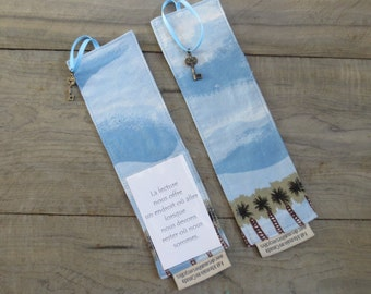 Bookmark with clouds and palm trees – made from recycled fabric