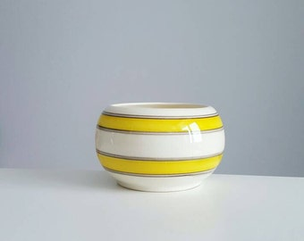 Mid century yellow striped vase from Mexico - Mexican vase