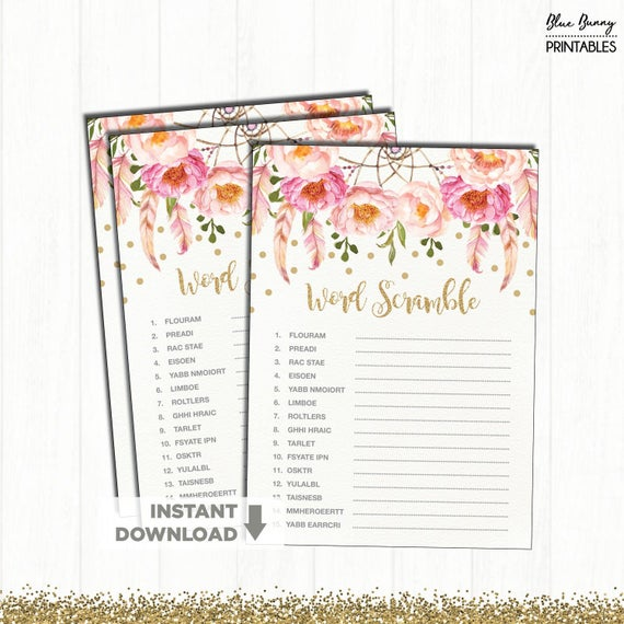boho baby shower game  word scramble  pink and gold floral