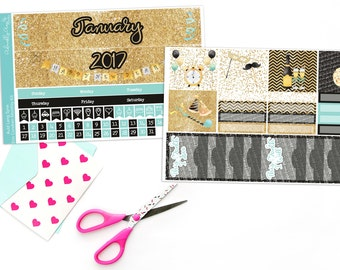 Auld Lang Syne New Year's Watercolor Themed Monthly View Planner Sticker Kit for Erin Condren Planners or Recollections Spiral Planners