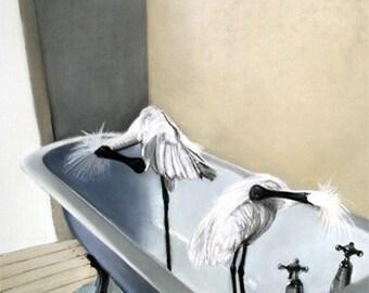 gift card - spoonbill - bath - bird bath - clawfoot bathtub - vintage bath - white - bathroom - taps - valentine's day card - house warming