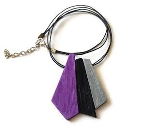 Purple statement necklace, Purple pendant, Plum necklace, Beautiful necklace, Unique gifts for women, Geometric necklace statement,