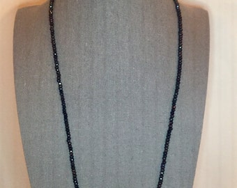 Black Spinel and Sterling Silver Beaded Necklace 26.5""