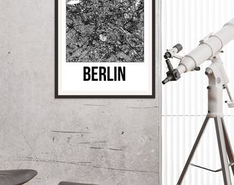 Berlin City Map Print - Black and White Minimalist City Map - Berlin Map - Berlin Art Print - Many Sizes/Colours Available