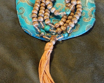 Lotus Seed, Crystal Quartz, & Turquoise Knotted Handmade Meditation Mala