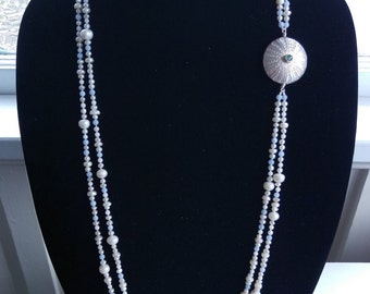 Opera Length Two Strand Pearl, Blue Lace Agate & White Coral Necklace featuring Sterling Silver and Chalcedony Enhancer