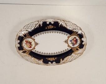 Beautiful Czech Republic Original Cobalt floral oval serving platter, dish