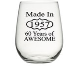 60th Birthday Gift for Women, 60th Birthday Gift for Men, 60th Birthday Gift for Mom, Made in 1957, 60th Party Favors, Birthday Wine Glasses