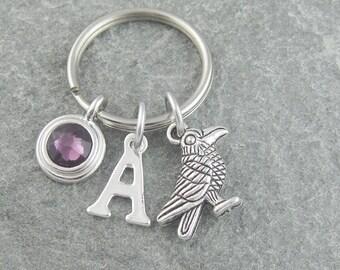 Raven keychain, raven keyring, bird keychain, bird keyring, gothic keychain, initial keychain, birthstone keychain, personalized keyring