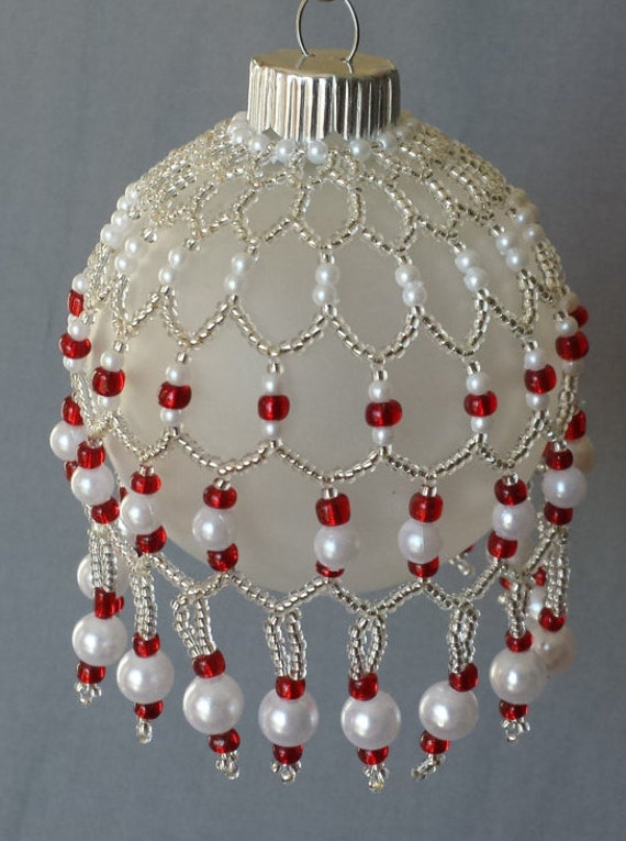 Glass Beaded Cover and Ornament Red Seed Beads Siver Seed