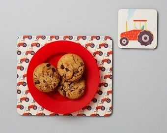 Tractor Gift Set, Kids Placemat and Coaster Set, Kid's Easter Gift, Tractor Gift, Toddler Gift, Tractor Gift, Tractor Table Mat Set
