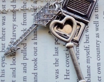 Key Heart Book Locket Necklace Long Chain