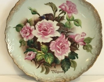 Vintage t. Nagasaki plate, wall plate, flower plate, hand painted, pink, flowers, wall hanger, decor, cottage, shabby chic, plate, hanger