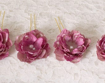 Silk hair flowers | bridal hair flowers | shabby chic hairpins