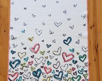 Baby Girl Hearts Quilt Pink, Baby Mat, Stroller Blanket