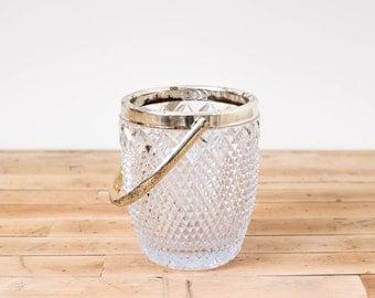 Vintage Diamond Cut Crystal Glass Ice Bucket