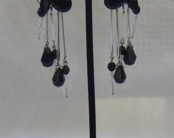 Vintage Tear Drop Chandelier Clip on Earrings From the 1980's