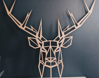 Large head of geometric deer wooden Okoumé (55cm x 50cm)