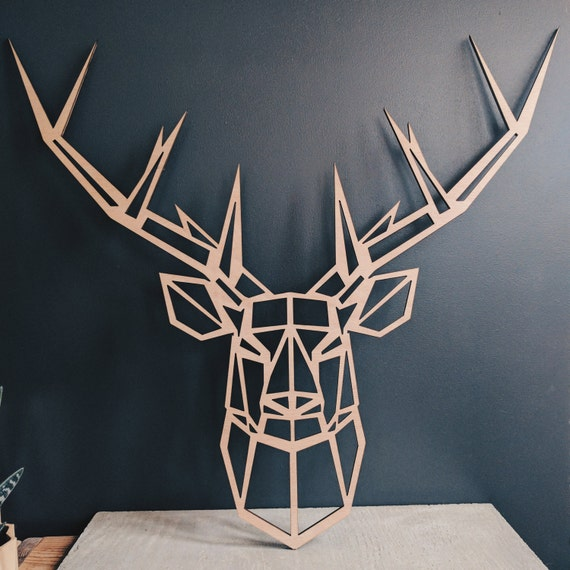 grande t te de cerf g om trique en bois d 39 okoum 55cm x. Black Bedroom Furniture Sets. Home Design Ideas