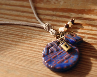 Long Statement Necklace - Blue Ceramic Pendant
