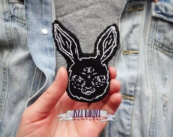 Gothic Rabbit Patch, small patches, emboidered patches, grunge patch, black felt patch, handade patch, gothic patch, black rabbit hare patch