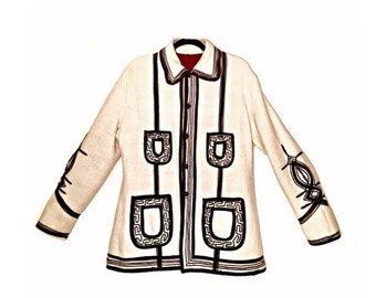 Vintage 70's Cream & Black Alpaca Wool Embroidered Coat