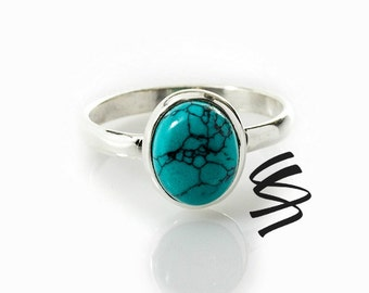 Turquoise Silver Ring Blue Native American Sterling Silver Ring Turquoise Ring Turquoise Sterling Silver Ring Native American Jewelry Stone