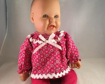 doll outfit, red and pink, rick rack, ribbon, velcro closure, stretchy leggings, Bitty Baby Clothes