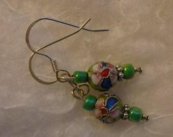 dangle earrings, green flower beads, nickel free earrings, floral earrings