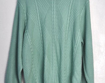 Vintage green sweater, mint green womens sweater, 80s sweater, Made in USA