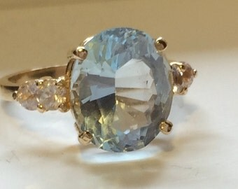 Aquamarine and Diamond 14K Gold Ring Sz 6 1/2