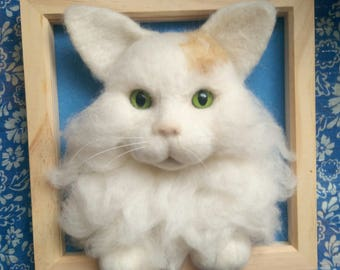 Needle felt personalised cat portrait.