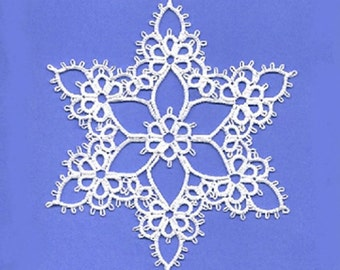 Joy Tatting Pattern PDF, snowflake, tatted snowflake, tatting, tatting pattern, Christmas tatting, lace, beaded tatting, tatting points